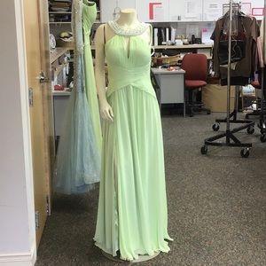 Pearl encrusted formal gown.